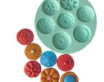 Aztec Buttons Mould - Silicone
