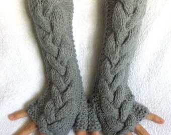 Grey Fingerless Gloves  Winter Mittens Cabled Hand Knitted Extra Soft and Warm with Baby Alpaca