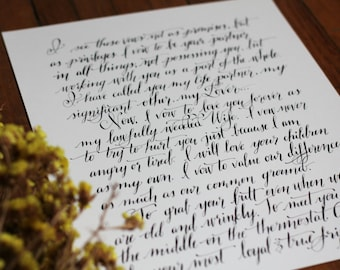 Calligraphy, Wedding Vows, Anniversary Gift, Calligraphy, Wedding Vows, Vows, Southern Bride, Bridal Vows