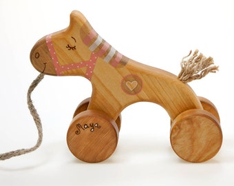 Wood Toy for 2 Year Old Girl, Toddler Pull Toy , Pink Wood Horse Toy, Best Wooden Toy
