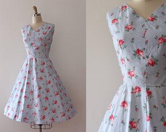 vintage 1950s dress // 50s floral roses cotton dress