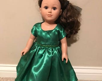 "18"" Doll Green Satin Party Dress"