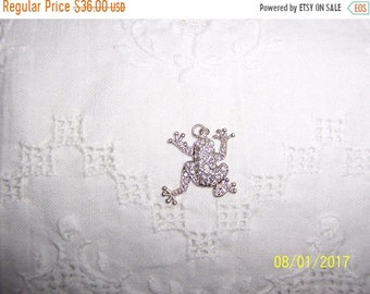 SUMMER SALE 20% OFF, Vintage Clear Cubic zirconias frog pendant. Sterling silver.