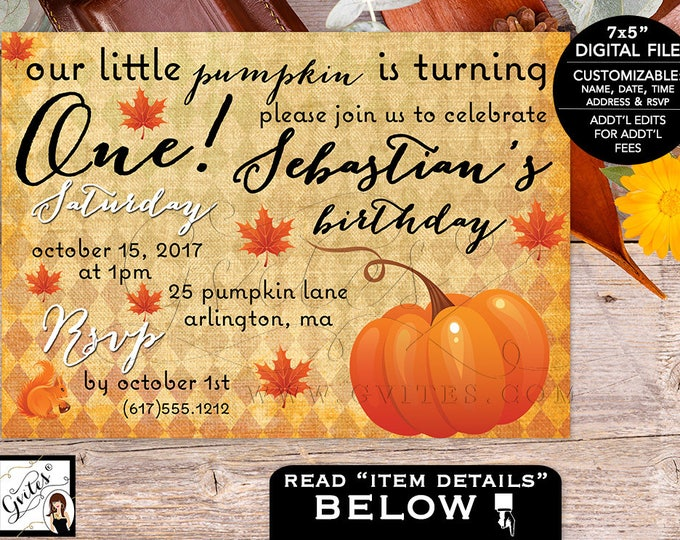 Our little pumpkin is turning one birthday invitation, pumpkin is one, birthday boy invites, digital file, custom fall invitations.
