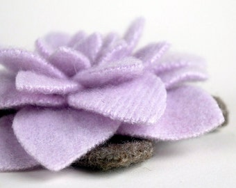 Winter Purple Rose Brooch - Recycled Cashmere