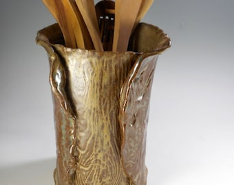 Ceramic large utensil holder, stoneware utensil holder, pottery utensil holder, wood grain texture hand built pottery