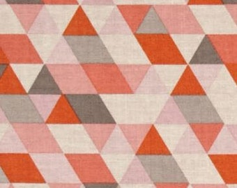 Geometric Triangle Ava Rose Coral Pink Grey Orange Cotton Fabric by Deena Rutter for Riley Blake Fabrics