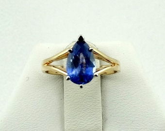 Beautiful Natural Blue Sapphire 14K Yellow Gold Ring FREE SHIPPING! #PS-GR5