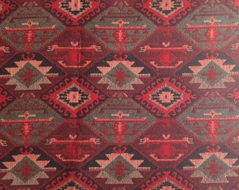 Ethnic Tribal Style Upholstery Fabric, Double-faced Cloth, Aztec Navajo Geometric Kilim Fabric, Black Red, by the Yard/Meter, Ycp-025