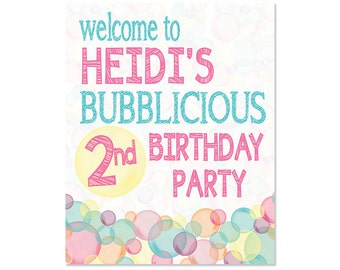 Bubble Birthday Party Welcome Sign - 8x10
