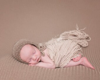 Newborn Knit | Organic Bonnet - Alpaca - Knit | Photo Prop - Pecan
