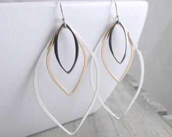 Silver and Gold Earrings Geometric Jewelry Long Dangle Earrings Boho Earrings Mixed Metal Earring Silver Earrings Gift For Women Jewelry