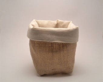 Burlap storage basket and unbleached cotton. 1 piece.
