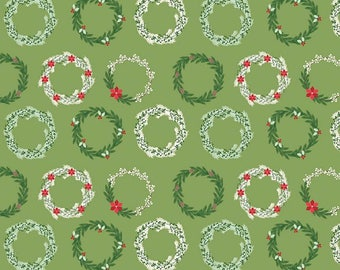 Comfort and Joy Wreaths Green by Riley Blake Designs - Christmas Holiday Holly - Quilting Cotton Fabric - choose your cut