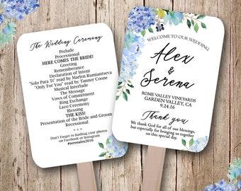 Blue Hydrangea wedding programs, wedding fans, wedding program fans, shades of blue, fans for wedding, personalized wedding fans, floral fan