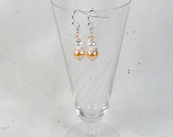 Wedding peach-white Collection-classic - Amanda wedding earrings, wedding jewelry, earrings Bridal Jewelry Wedding peach