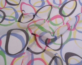 SPECIAL--Colorful Op Art Print Pure Silk Crinkle Chiffon Fabric-BY THE Yard