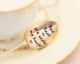 Tea Leaf You Stole My Heart - Hand Stamped Engraved Spoon - Vintage Tea Spoon