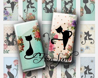 Cartoon Black Cat - Digital Collage Sheet of 1x2 inch and 15x30 mm Dominoes  printable images for Pendant Scrapbooking Charms Animal Jewelry
