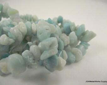 Medium Amazonite Chip Beads, Amazonite Chip Beads, 6 - 10mm, 36 inch Strand, Whole Strand
