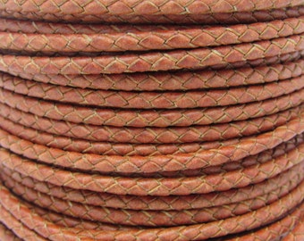 3mm hand braided brown leather cord for jewelry making. 300 inches length. FREE SHIPPING
