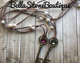 Love is the key fresh water pearl swarovski necklace/long pearl necklace/swarovki riviloi charm necklace/key necklace/brass key/faux leather