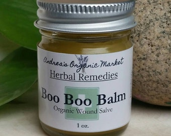 Organic Boo Boo Balm, First Aid Cream, Herbal Salve, Antiseptic Salve, Antibacterial Cream, Cut and Scrape Salve, Wound Balm