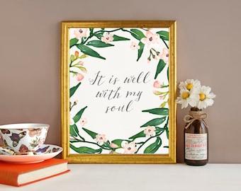 It is Well With My Soul Digital Print, Handwritten Typography, Printable, Hymn Print,