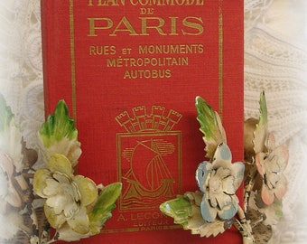vintage hardcover paris guide book small book plan commode de paris rue et monuments metropolitain autobus