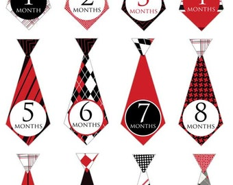 Black & red ties - 029 - baby boy monthly decals in red and black