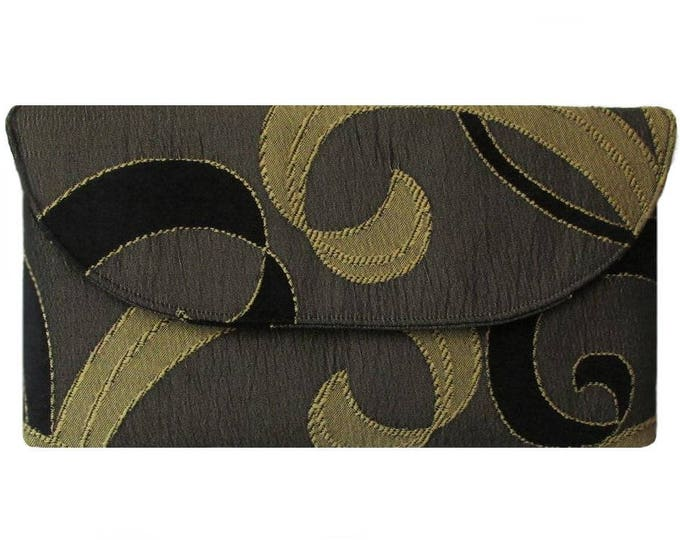 Black & Gold Swirl Clutch Bag