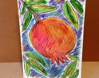 Pomegranate Card, Jewish Card, Bar Mitzvah Card, Bat Mitzvah Card, Jewish Wedding Card, Hand Painted Card, Pomegranate Painting