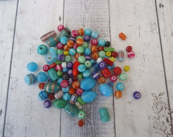 Mixed Lot of glass Beads, 3.3 Oz, Multi Color, Shape and Size, Jewelry Component, Beading Supply, Altered Art Supply