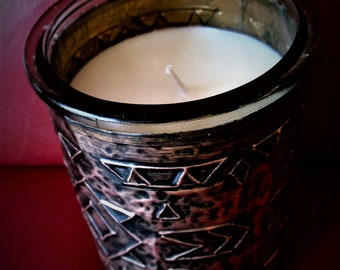 Candle covered with hand tooled copper, embossed, repousse, hand made, rustic, unique, one of a kind, home decor
