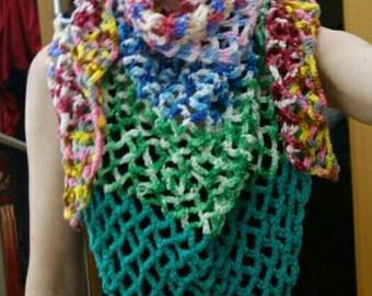 Triangle Mesh shawl in vivid colors