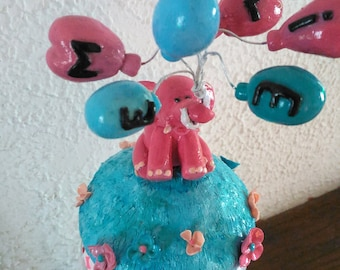 Handcrafted Nightlight elephant and balloons