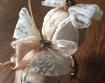 Two shabby chic vintage style lace christmas ornaments