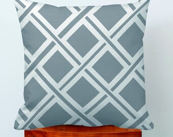 Geometric diamond holiday decorative pillow case,gray white geometry rhombus throw cushion pillow cover case.canvas pillowcase 18x18""