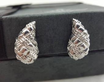 Silver tone Clip earrings Vendome Art Deco  Lever back Clip Earrings  Mint condition