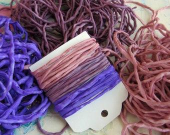 Die Hand gefärbte Seide String - lila Seide Cord - Schmuck Schnur - Lavendel-Rose