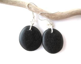 Rock Earrings Beach Stone Earrings Natural Stone Earrings Mediterranean Jewelry River Stone Earrings Pebble Earrings Black Silver LAL
