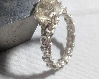 Crystal Quartz Solitaire Ring, Wire wrap, handmade, non-adjustable, size 6