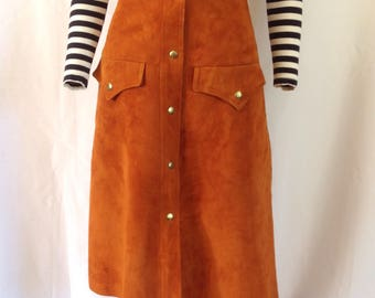 """1970's High Waist Suede Snap-front Skirt 26"""" W"""