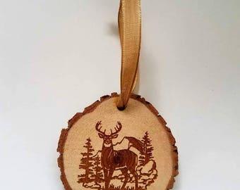 Rustic wood deer Christmas ornament cabin doe buck country hunting