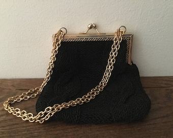 Vintage DAYTONS Made in Italy Black Crocheted Purse     Double Gold Chain and Frame