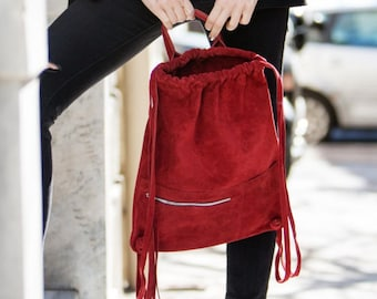 Suede leather handmade backpack in red