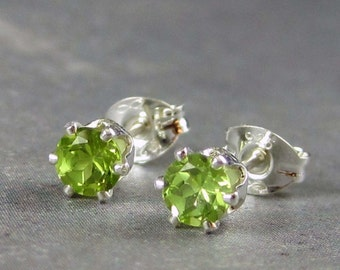 Peridot stud earrings, peridot earrings,  sterling silver earrings, 4mm,  peridot post earrings, august birthstone earrings, green gemstone