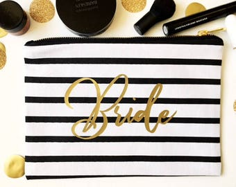 Bridal Party Makeup Bag - Black and White Striped Bag - Gold Foil Bag - Custom Canvas Bag - Zippered Makeup Pouch - Bridal Party Gift