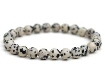Dalmatian Jasper Bracelet Natural Grade-A 8mm Stones Custom Size Stretch Fit
