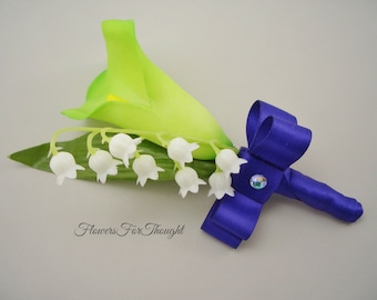 Calla Lily Boutonniere, Lily of the Valley, Spring Wedding Lapel Pin